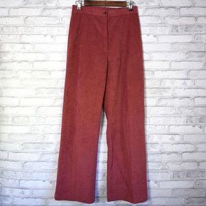 Vintage hi rise mauve faux velvet wide leg pants
